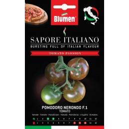 Tomate Nerondo F.1 Dunkle, schokoladenbraune Sorte. Der Geschmack ist kräftig und eine Frucht wiegt zwischen 80-100 g.