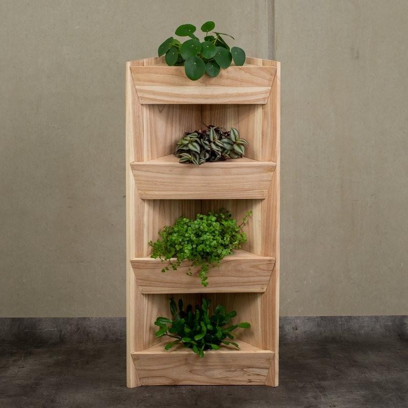 Holzeck-Regal für vier Pflanzen