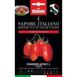 Tomate Astro F1 Kompakt wachsende Pflanze. Diese Sorte ist gut zum Schälen geeignet. Sehr produktiv, mit länglichen fest