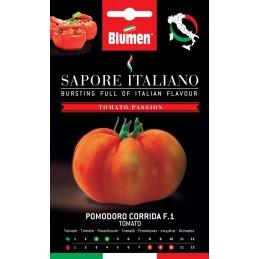 """Tomate CorridaF.1 Fleischige Sorte """"Pantano Romanesco"""", sehr produktiv mit runden, an den Polen abgeflachten Früchten"""
