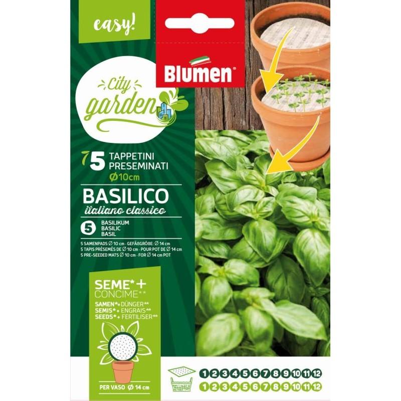 Packung Samenpads rund, Basilicum mit Samen und Dünger - Gemüsespezialitäten